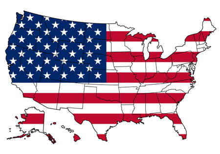 Map of states borders of USA and American flag on it isolated