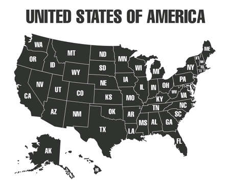 Map of states borders of USA or America isolated