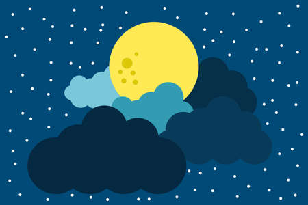 Full moon clouds and starry sky naive concept illustration vector