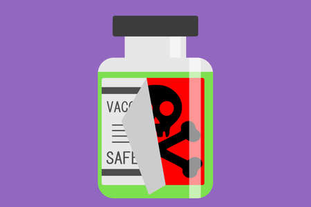 Bottle of vaccine with tricky label death symbol behind it vector illustration isolated 矢量图像
