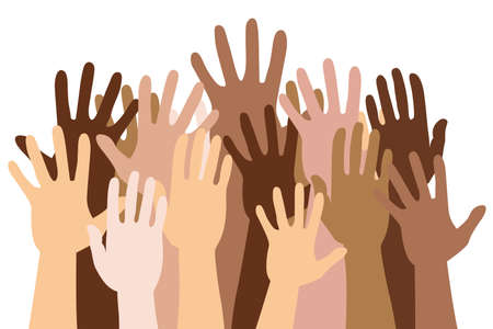 multiracial multicultural human hands up crowd isolated vector 矢量图像