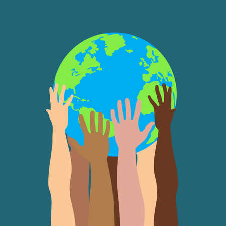 Group of multicultural human hands holding and taking care of Earth planet isolated vector