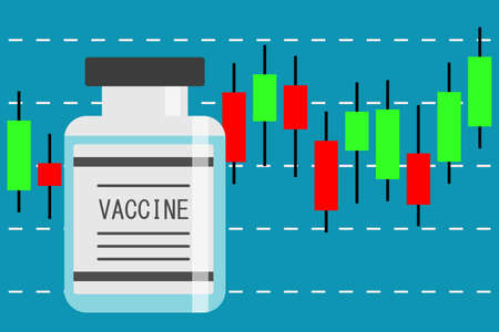 Candlestick chart stock bottle of vaccine vector illustration 矢量图像
