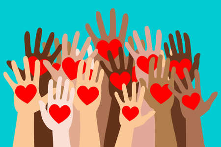 crowd of human hands up with heart in the palm isolated vector concept