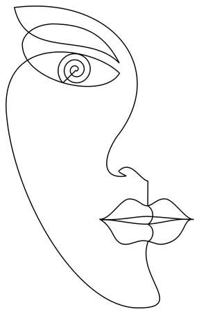 woman face drawing made of continuous line minimalist vector illustration