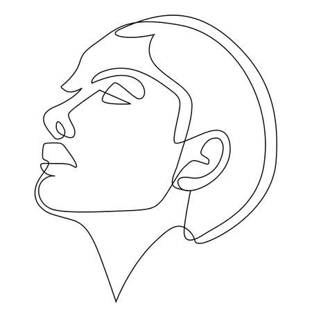 woman face drawing profile side view portrait made of continuous line minimalist vector illustration