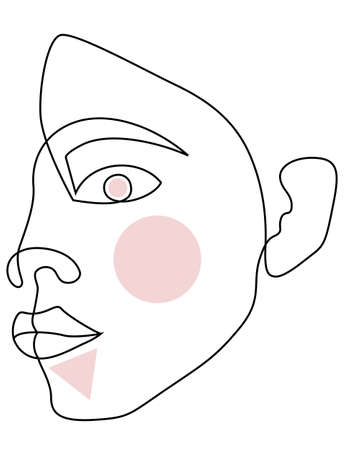 woman face drawing portrait made of continuous line minimalist vector illustration