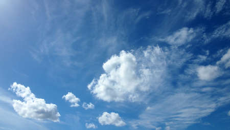 Cumulus and wispy clouds with Blue Sky