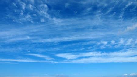 Beautiful sky with white wispy cloud Stock Photo