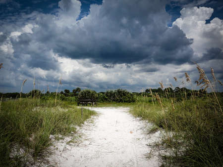 Beach path before a storm