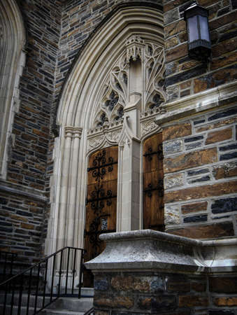 angled view: Angled view of a gothic cathedral door