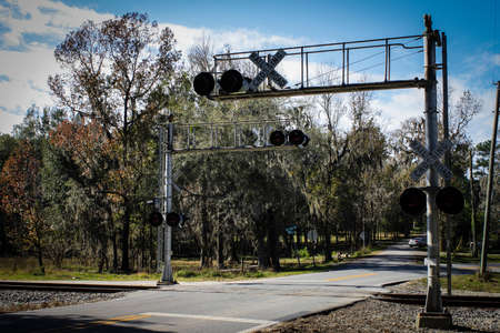 railroad crossing: Rural railroad crossing