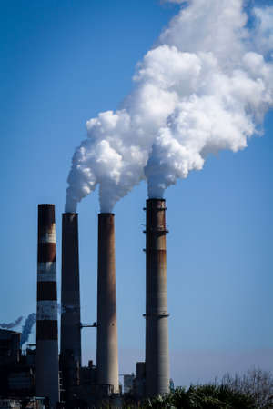 Image of a smoke stack factory