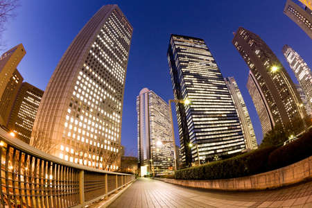 Night view of the Shinjuku high-rise building street in Tokyo Stock Photo - 13254006