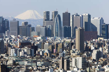 noted: Shinjuku skyscrapers and Mount Fuji