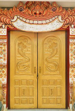 Thai art entrance hall of the temple photo