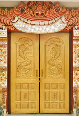 thaiart: Thai art entrance hall of the temple Stock Photo