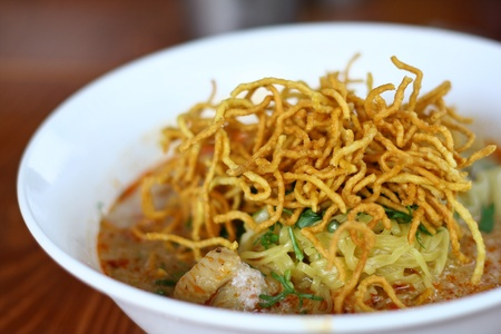 thai noodle soup: Foods, the food delicious yellow line. In northern Thailand