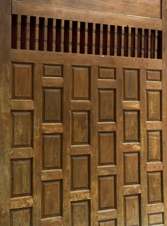 Traditional Thai wooden doors made ​​of wood large. There are a lot of northern Thailand photo