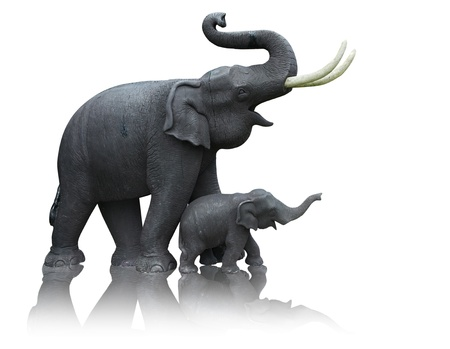 Mother and baby elephant made from the plaster mold formed by a hand-operated photo