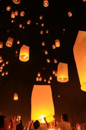 mai: Traditional Lamp Release Yi Peng Chiang Mai Thai Stock Photo