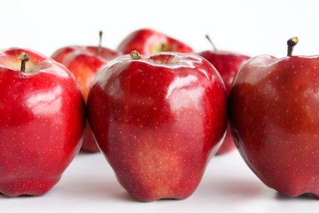 sequential: red  Apple Sequential format on white background Stock Photo
