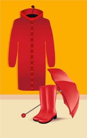 Umbrella, rubber boots and raincoat, vector illustration Illustration