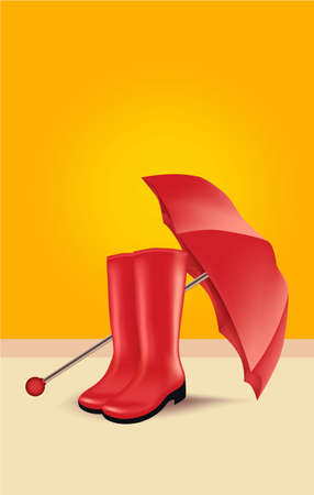Umbrella and rubber boots, vector illustration pair