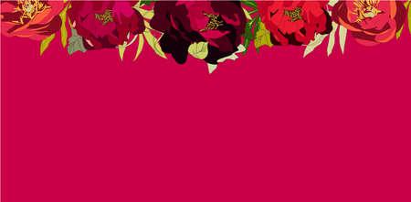 Red peony Banner, vector illustration summer spring