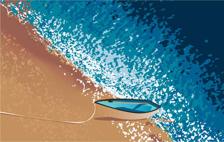 top view of sea water, sand and boat, vector Ilustração