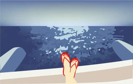 Girl on a catamaran, vector illustration sky Illusztráció