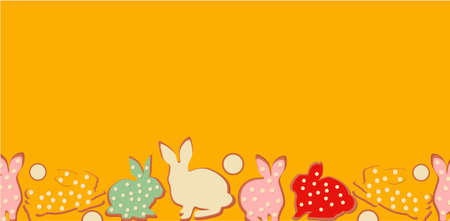 Easter bunny banner, vector illustration holiday yellow