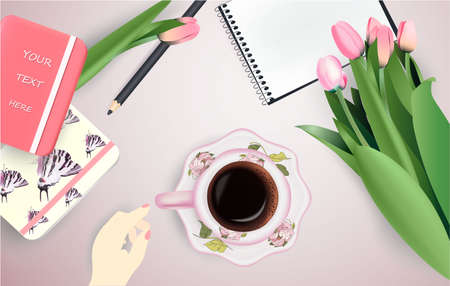 Cup of coffee, flowers, notepad and pencil Stock Photo - 124850121