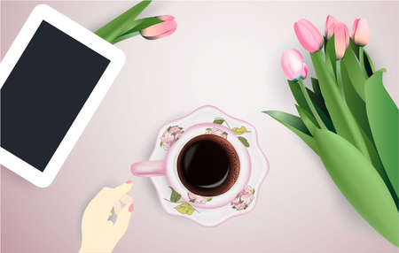Cup of coffee, flowers and tablet top view tulips