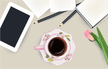 Cup of coffee, tablet, notepad top view pencil