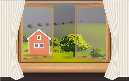 Window, Landscape nature trees house grass summer