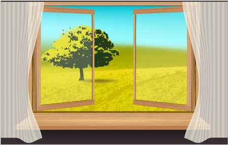Window, Landscape, nature trees green grass sky Stockfoto