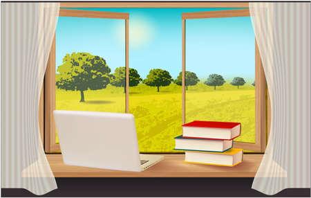Window, sky, trees and laptop landscape sky
