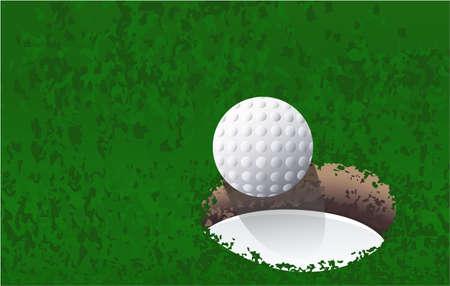golf ball near the golf hole vector