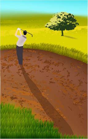 golf player, field, trees sport play landscape Фото со стока