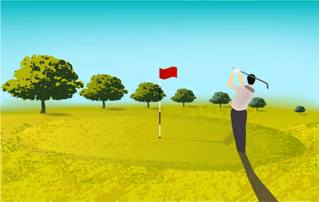 golf player, golf course trees sport play
