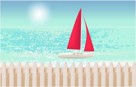 Yacht on the beach, vacation summer trip
