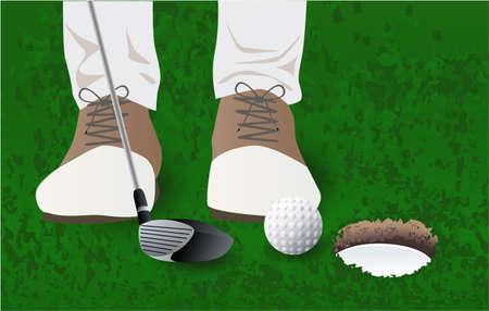 golf ball, golf player golf club grass