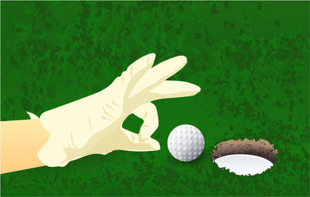 hand, golf ball, grass hole sport field