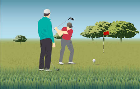 golf course, golf players, golf ball game Stock Photo