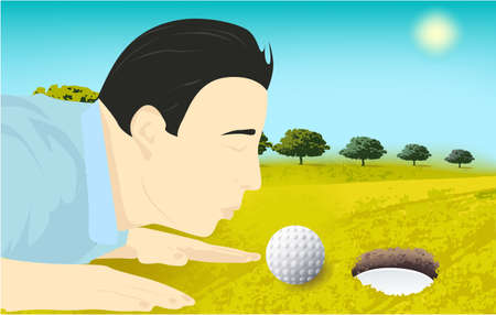 Golf player with golf ball, field game