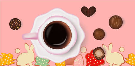 Cup of coffee, chocolate candies, easter background