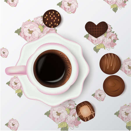 Cup of coffee, chocolate candies, floral background