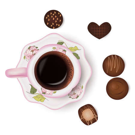 Cup of coffee and chocolate candies, drink