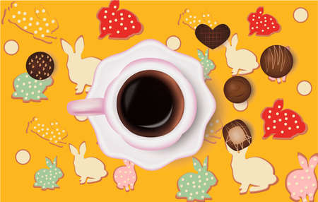 cup of coffee, chocolate candies easter bunny pattern